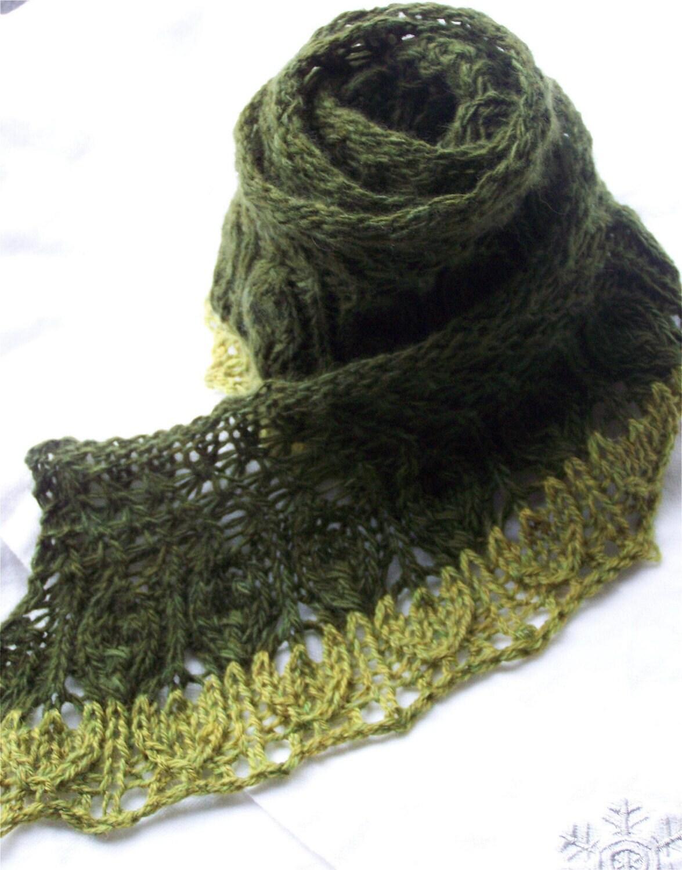 Wispy Hand Knit PDF Scarf Pattern Wispy leaves by KnitChicGrace