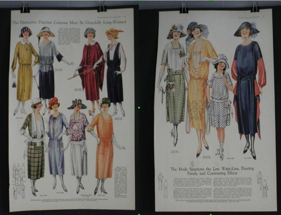 Original 1922 Pictorial Review Fashion Pages Full Color