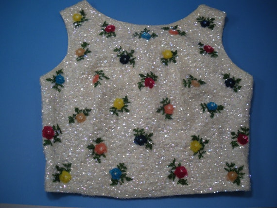 SALE Vintage Floral Sequined Shell Wool and Silk Ransom House Size 36 1970's SALE