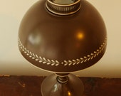 Vintage chocolate brown toleware hurricane lamp
