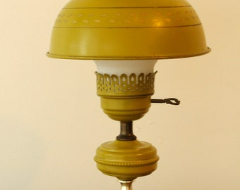 Vintage olive green toleware hurricane lamp