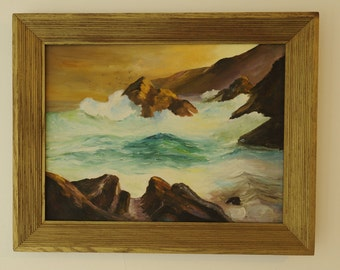 1960's vintage oil seascape signed