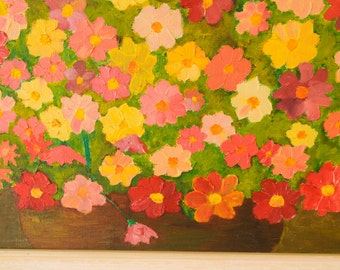 Large vintage cheerful floral oil painting on canvas - signed