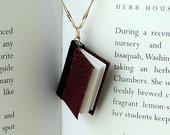 Burgundy Leather Book Pendant
