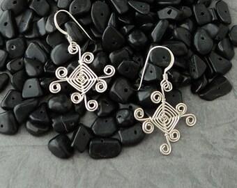 Hand Woven Sterling Silver Wire, Sunrays Ojos Earrings