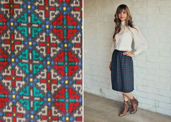 SALE High Waisted Vintage Geometric Print Pencil Skirt