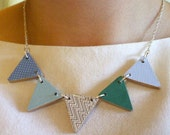 Wooden Bunting Flag Necklace - Blues and Greens