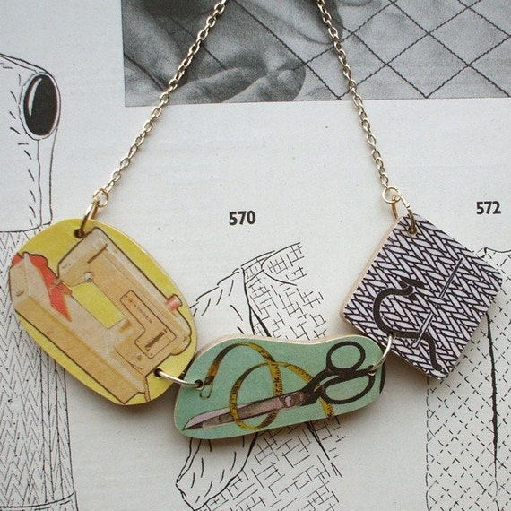 HALF PRICE SALE Wooden Sewing Collection Necklace