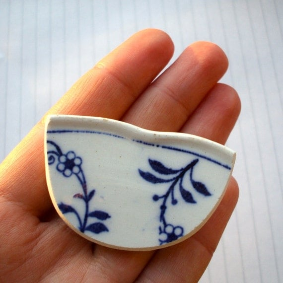 Broken China Brooch - Blue and White Floral SALE