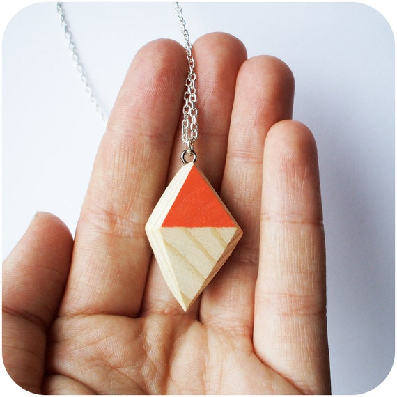 Wooden Geo Diamond Necklace with Peach Colour Accent