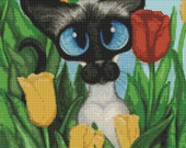 Cat Cross Stitch, 'Siamese Tulips', Flower Cross Stitch, Tulip Flowers, Siamese Cat, Cross Stitch Kit, AmyLyn Bihrle.