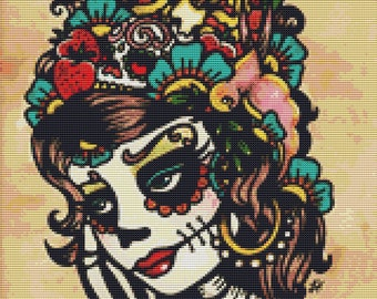 Sugar Skull Modern Cross Stitch Kit By Illustrated Ink ' Altar Visions' Day of the Dead NeedleCraft Kit