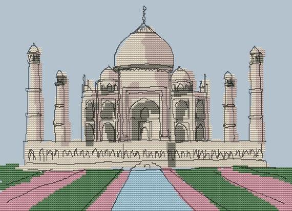 Taj Mahal Cross Stitch Pattern Art (Scratch Landmark Series) by Gecko Rouge