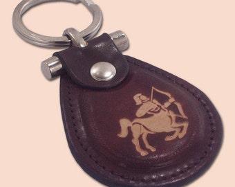 Sagittarius zodiac leather metal T keychain - FREE Shipping Worldwide
