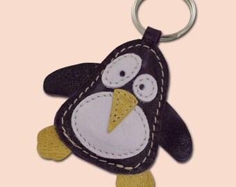 Cute Little Purple Penguin Leather Animal Keychain