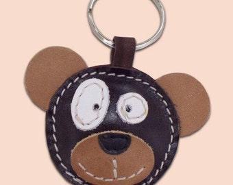Cute little bear leather keychain