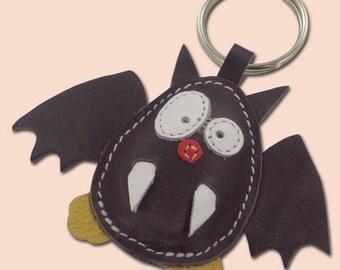 Cute little gray bat animal leather keychain