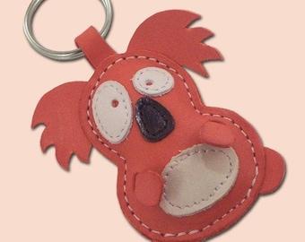 Cute Little Red Koala Leather Animal Keychain