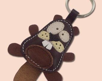 Cute little dark brown beaver animal leather keychain