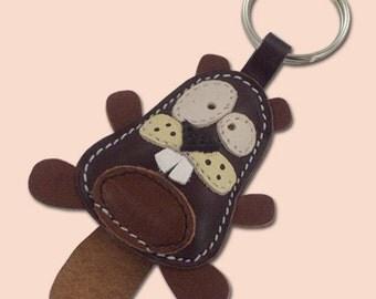 Cute Little Dark Brown Beaver Animal Leather Keychain - FREE shipping worldwide - Handmade Leather Beaver Bag Charm