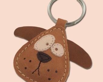 Chowder The Cute Little Dog Leather Animal Keychain - FREE Ahipping Worldwide - Handmade Leather Dog Bag Charm