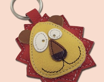 Cute Little Red Lion Animal Leather Keychain