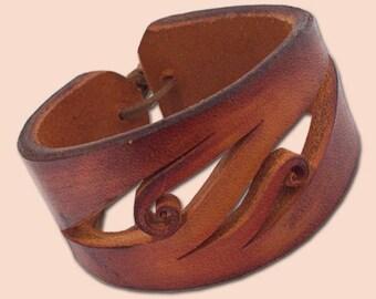 Handmade Leather Bracelet 4042 orange-brown