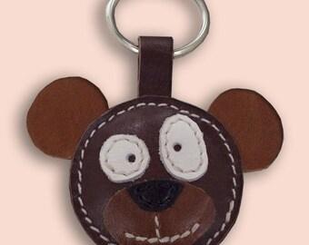 Cute Little Brown Bear Leather Animal Keychain