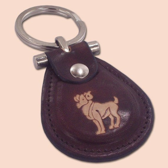 Aries zodiac sign leather metal T keychain