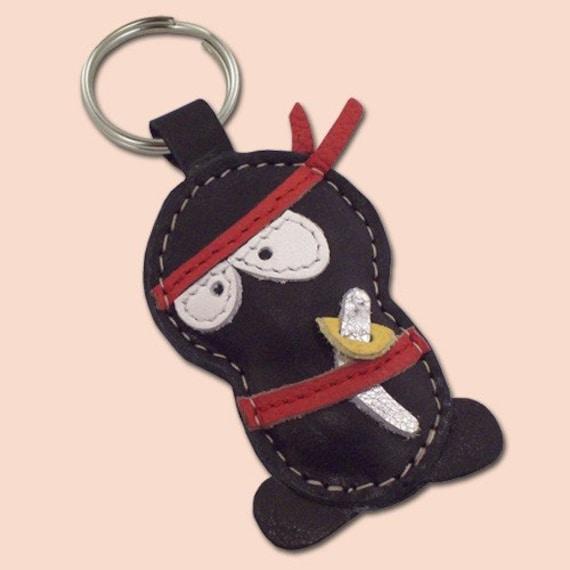 Handmade Black Ninja Leather Keychain - FREE Shipping Worldwide - Leather Ninja Bag Charm