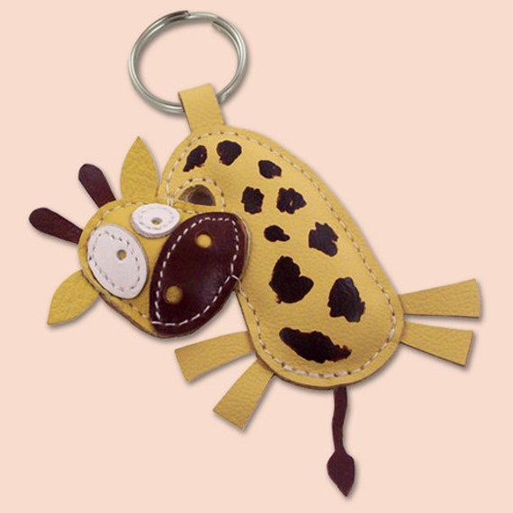 Sweet Yellow Giraffe Leather Animal Keychain