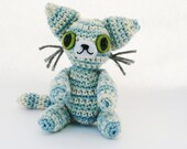 Striped Blue Cat Amigurumi Plush Doll