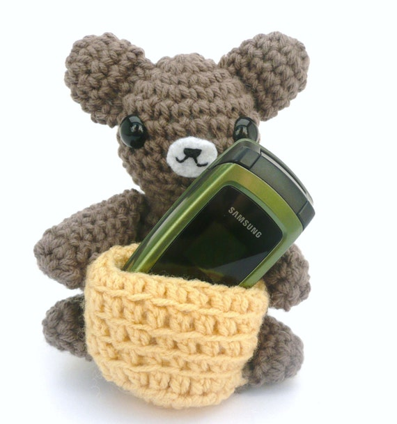 brown teddy bear with honey comb amigurumi gadget cell phone holder