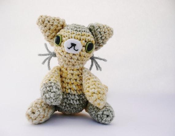 Yellow Beige Cat Amigurumi Plush Doll