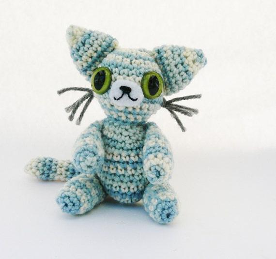 Striped Blue Cat Amigurumi Plush Doll