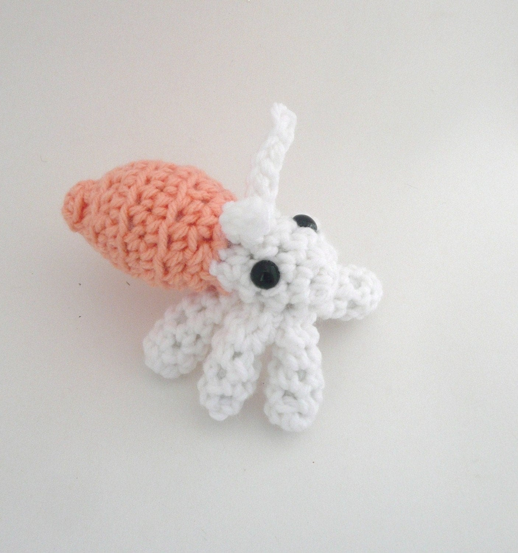 Amigurumi Hermit Crab : Amigurumi Peach Hermit Crab Plush by CuteWorkshop on Etsy