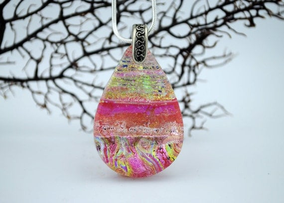 Fused Dichroic Glass Pendant  - Glowing Pink
