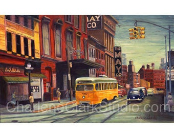 FAYETTE and EUTAW - Baltimore -  Giclée Print on Cradled Canvas Panel