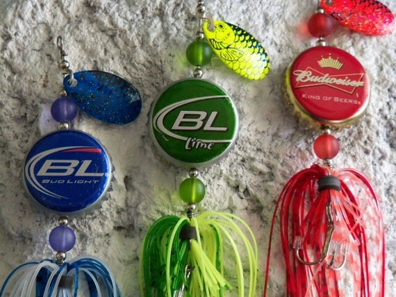Mens fishing lure gift for him bottle cap fishing lure 3pk for Fishing gifts for him