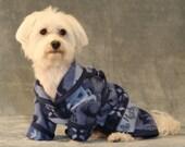 Doggie Robe, blue rustic fleece, XS