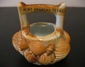 Vintage Travel Souvenir Seashell basket Kitsch Novelty Port Aransas Texas