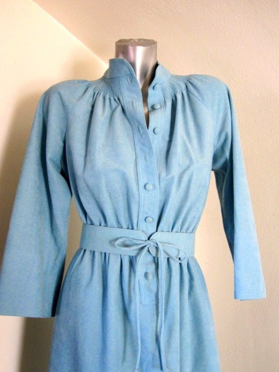 Retro Aqua Mint Green Blue Long Sleeved Button Up Day Dress with Belt