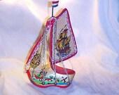 Vintage Ship Sailing Canvas Decorative Dutch Wooden Shoe Painted WLV Ecochic Team