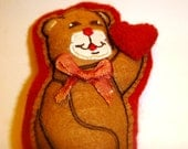 Vintage Valentine Felt Bear Embroider I give you my Heart Brown Teddy Bear with Original Bow Tie Ribbon