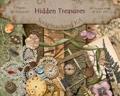 Digital Scrapbooking Kit - HIDDEN TREASURES - 5 Papers - 50 Elements -2.75