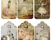 INSTANT DOWNLOAD - Vintage Ballerina Gift Tags -Scrapbooking, Gift Giving, Collages...