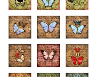Old World Butterfly Collection - 2 Pages - 2 x 2 inch - Charms, Scrapbooking, Cards - INSTANT DOWNLOAD -2.50
