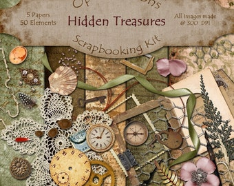 Digital Scrapbooking Kit - HIDDEN TREASURES - 5 Papers - 50 Elements -
