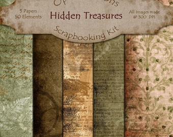 Digital Scrapbooking Papers - Hidden Treasures  - Paper Pack - 8.5 X 11 Inches - INSTANT DOWNLOAD -