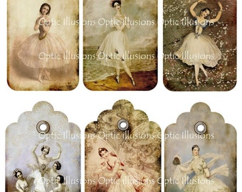 INSTANT DOWNLOAD - Vintage Ballerina Gift Tags -Scrapbooking, Gift Giving, Collages...2.50